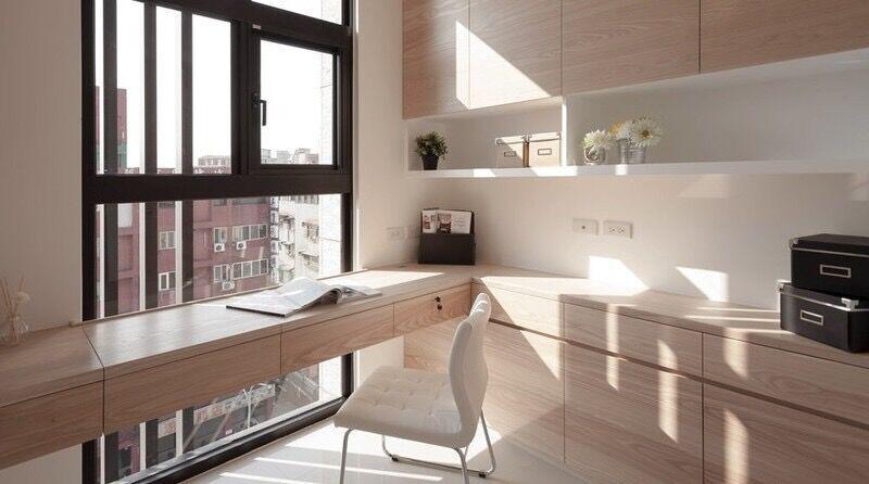 不同风格的转角书桌书柜效果图
