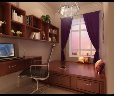 如上图榻榻米书房装修效果图所示,家具的选择要根据房间内部的设计