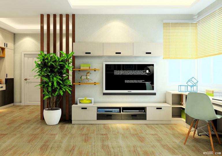 客厅电视背景墙效果图 利用原木色柜身搭配雕花面板相互