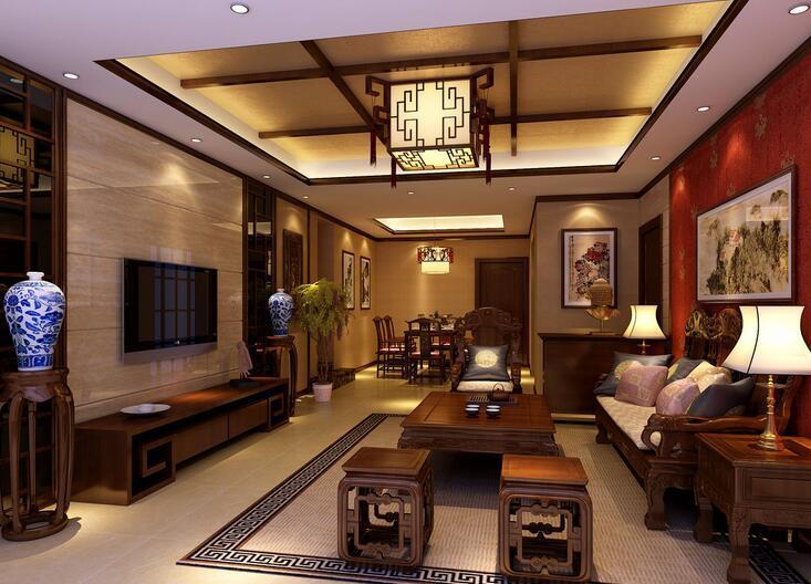 中国风十足的客厅吊顶设计,将九宫格搬到了吊顶中,配上极具中国风的
