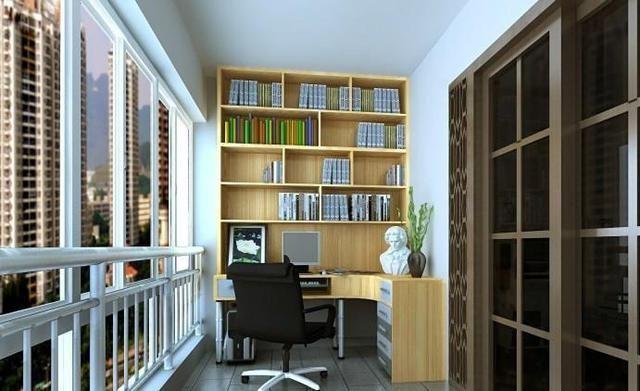 阳台改书房效果图,房子扩大一居室!
