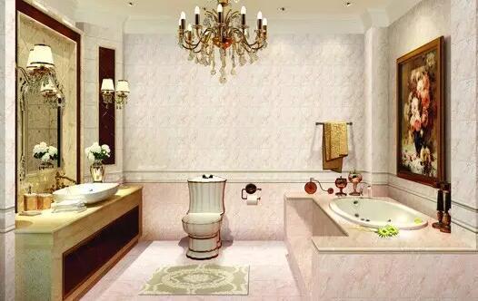 卫生间地板砖效果图 对于欧式风格卫生间来说,地面装饰与墙面装饰