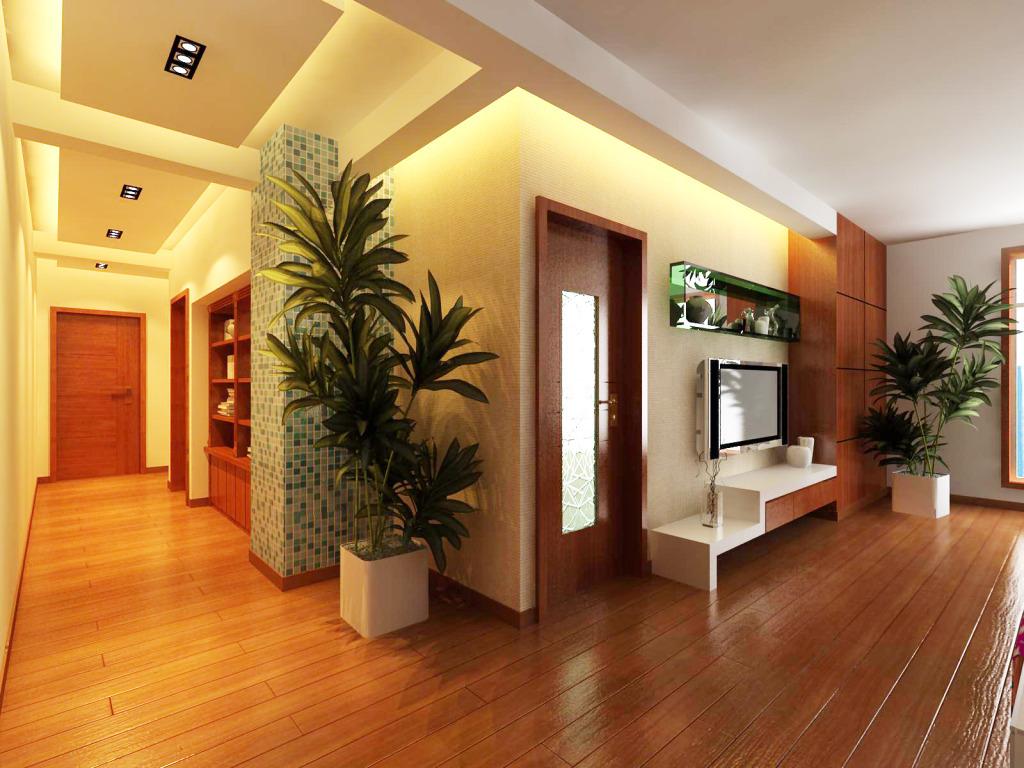 这一款进门玄关装修效果图清晰淡雅,白色的柜子配合着绿色的植物和