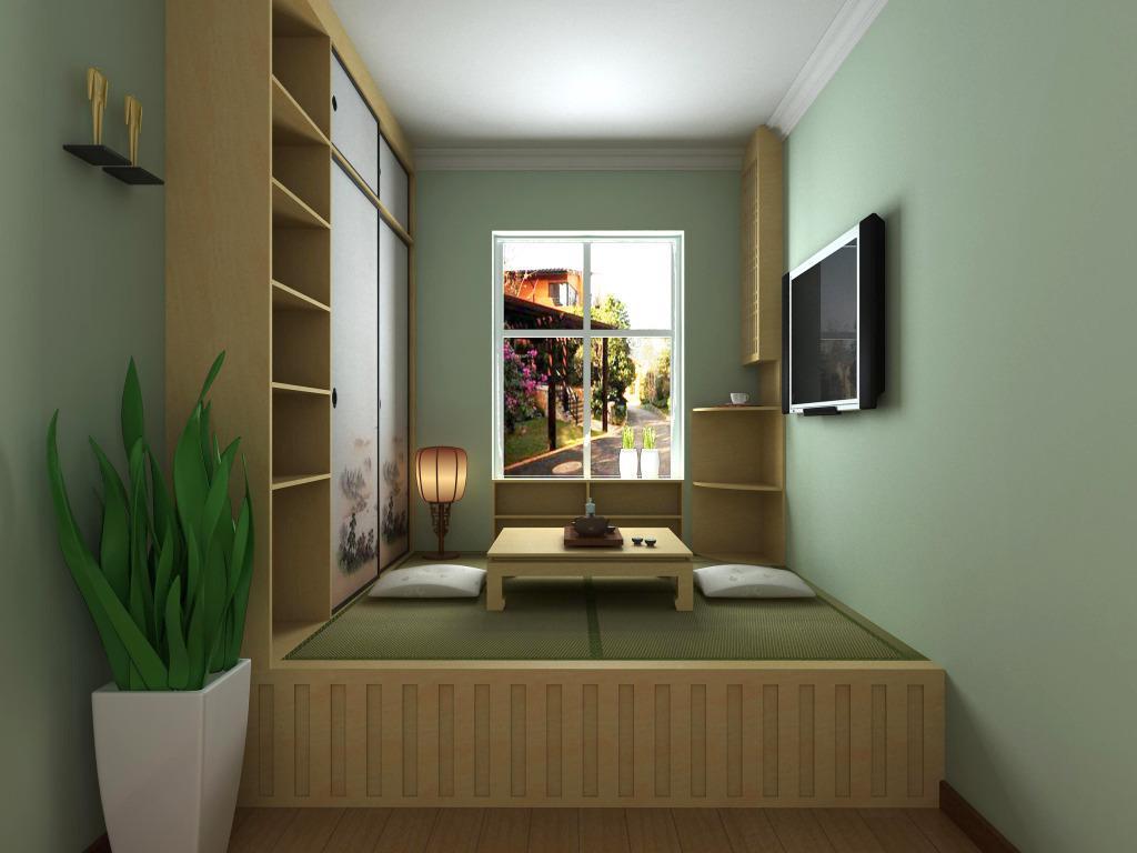 房间铺满榻榻米 以此类推,第三种方式就是整个房间都是榻榻米。用榻榻米装修卧室,您就不用买床买地板了,节省了很大一笔费用,而且装修出来的效果,就跟买了大房子一样,是不是超级划算。全铺的方式依然可以使房间具有多功能性,您可以在房间周围固定桌板,就有书房的功能了。