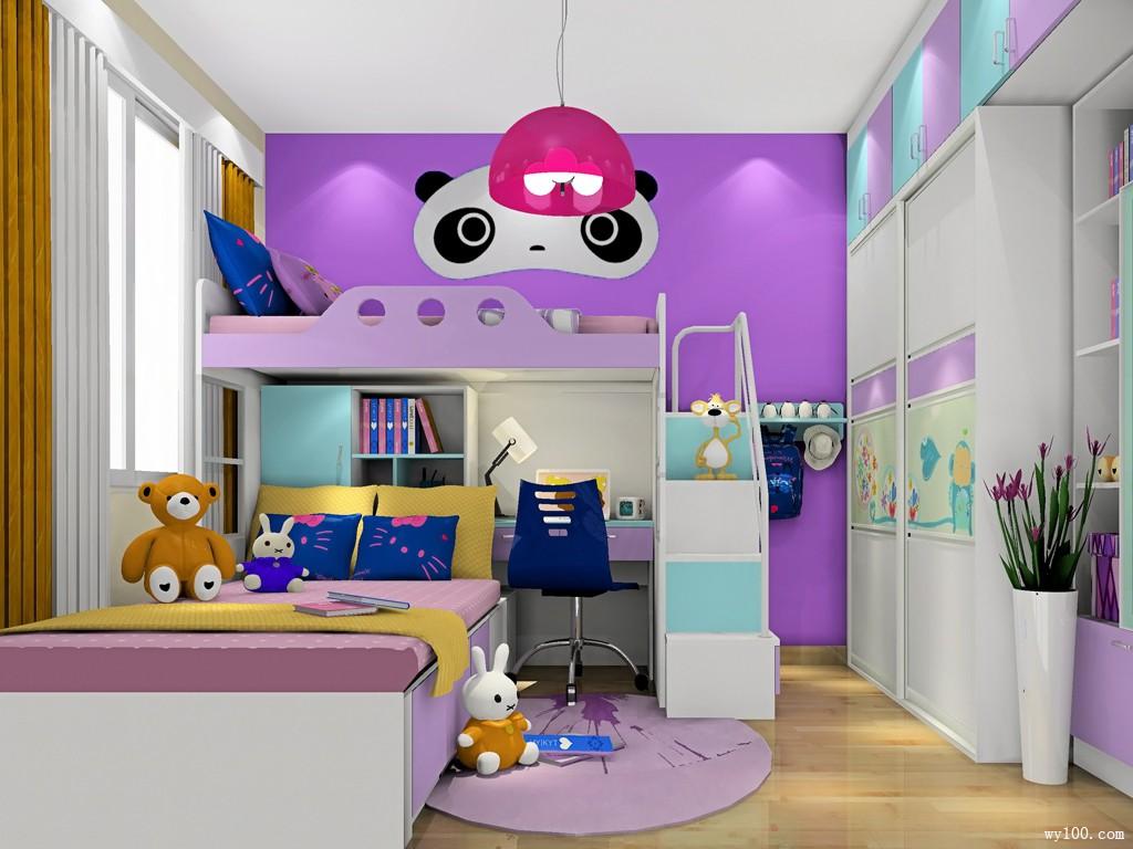 女孩子儿童房颜色是粉丝,紫色 如果是小女生的话,一定有个公主梦.