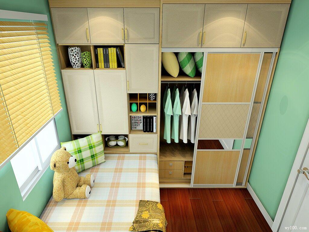 卧室 组合衣柜设计推荐,组合衣柜效果图赏析  床组合以书桌为主,灵活