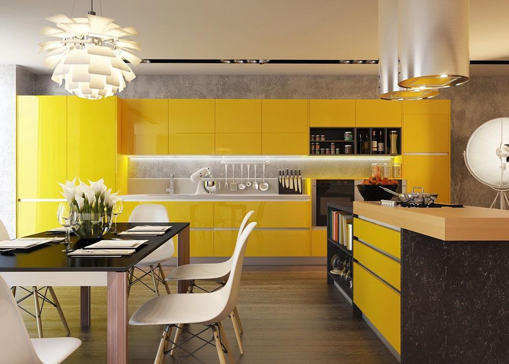开放式厨房偏黄色橱柜配什么家具--维意定制网上商城