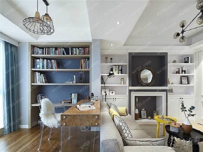 90平米北欧装修效果图的客厅一角,灰色和蓝色的 布艺沙发搭配上图案