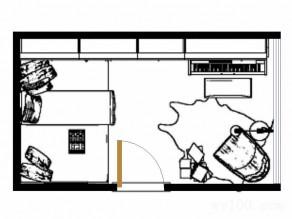 进门榻榻米书房效果图 10�O可兼做客房使用_维意定制家具商城