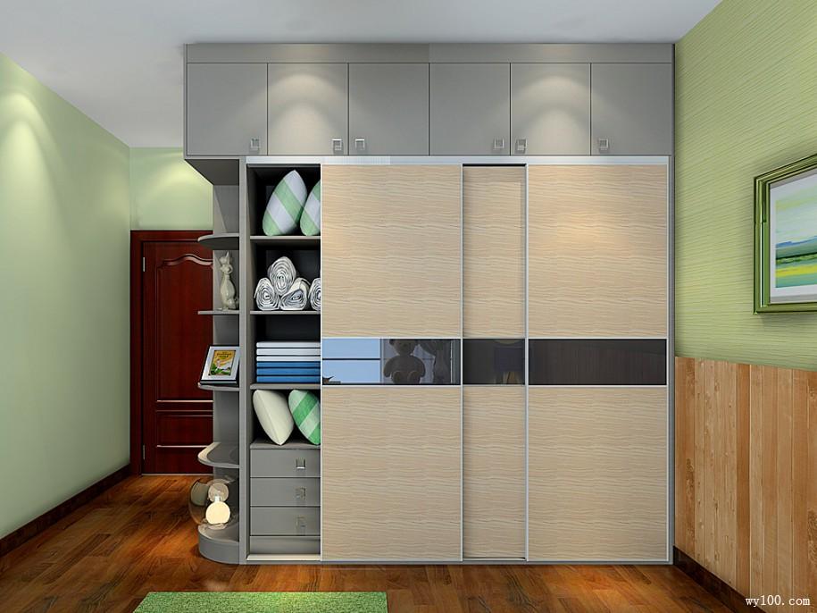 衣柜旁边开放式圆弧柜,避免一进门就拥挤的情况图片