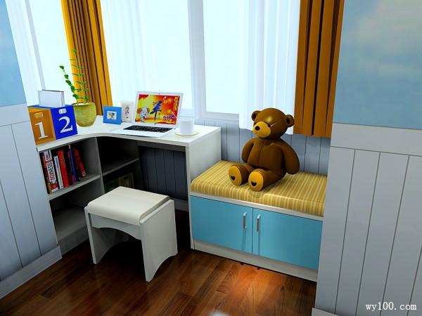飘窗儿童房效果图 7�O学习娱乐两不误_维意定制家具商城