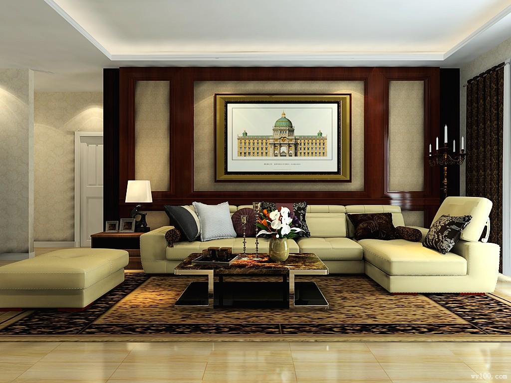 欧式客餐厅装修效果图 56㎡大沙发硬装的设计