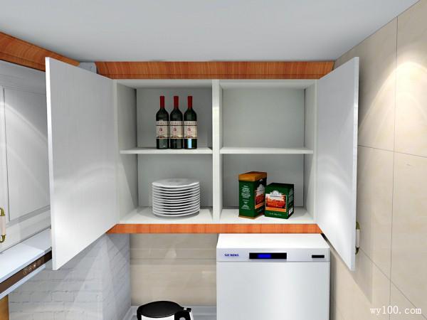L型设计厨房 吊柜增加储物空间整体实用大方_维意亚博娱乐手机登录手机专用家具商城