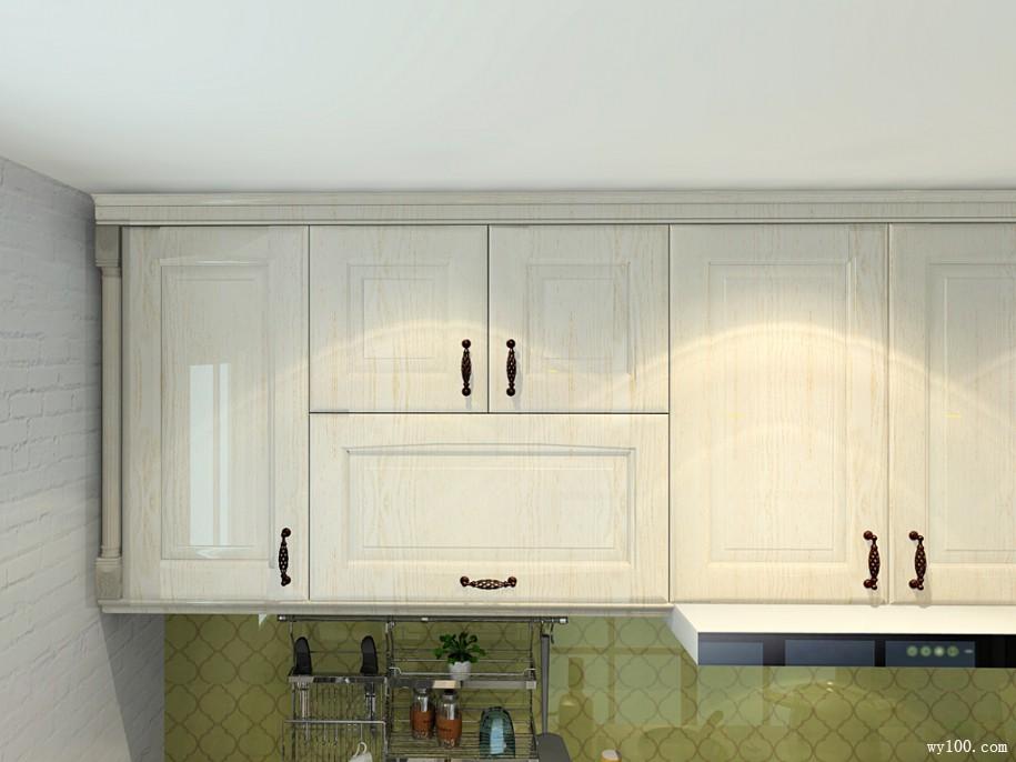 田园清风式厨房效果图 玻璃清透感图片