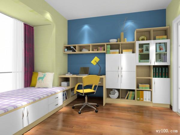 清新书房效果图 8�O满足你的读书欲望_维意定制家具商城