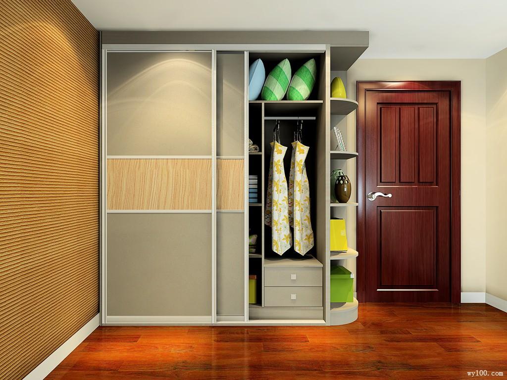 趟门衣柜节省开合门空间,圆弧柜减弱开房间突兀感
