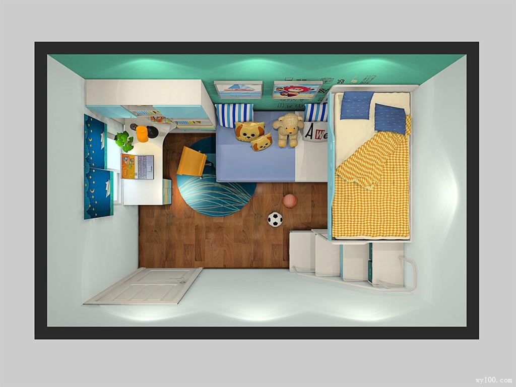 上下床儿童房效果图 10㎡房子里的游乐园