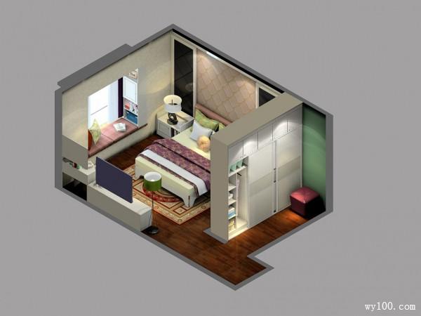 美式卧室效果图 22�O灵活分割衣帽间_赌盘网