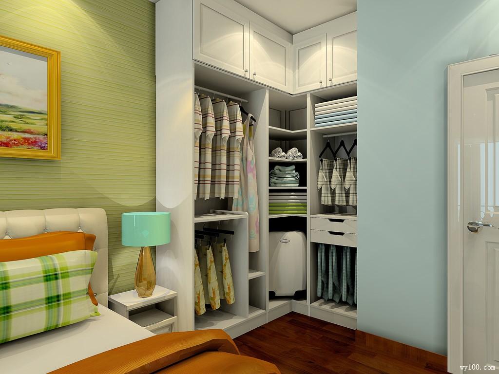 图小卧室装修有书柜衣柜卧室衣柜装修效果图片
