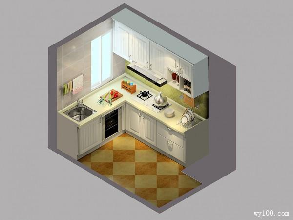 L型橱柜厨房效果图 5�O色调清新明亮_赌盘网