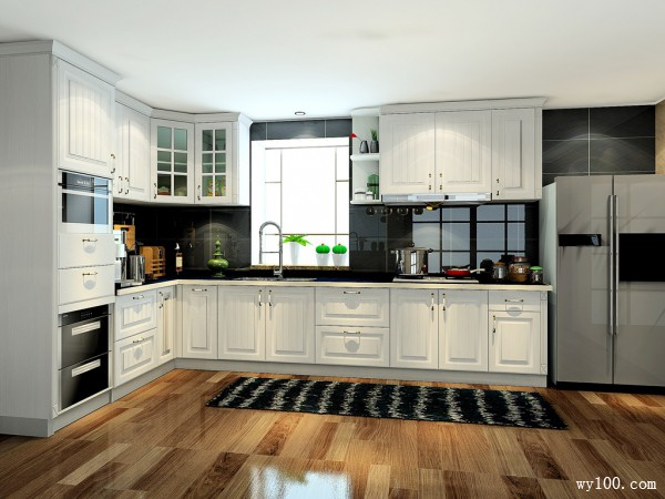 L型厨房装修效果图 16�O橱柜+收纳+配色_赌盘网
