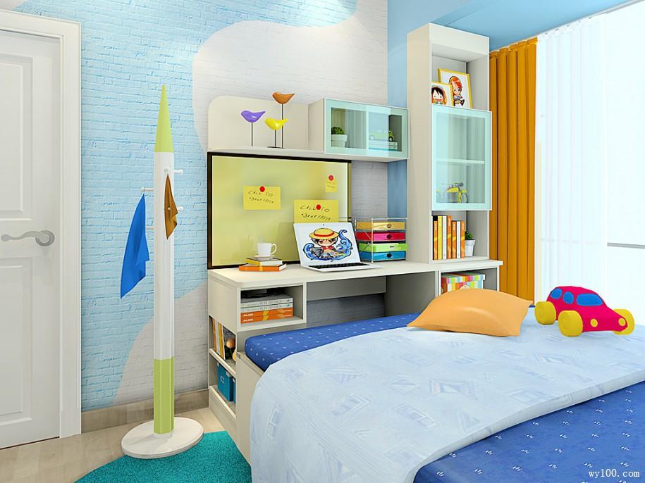 书桌书柜儿童房效果图 7㎡满足了日常的需求
