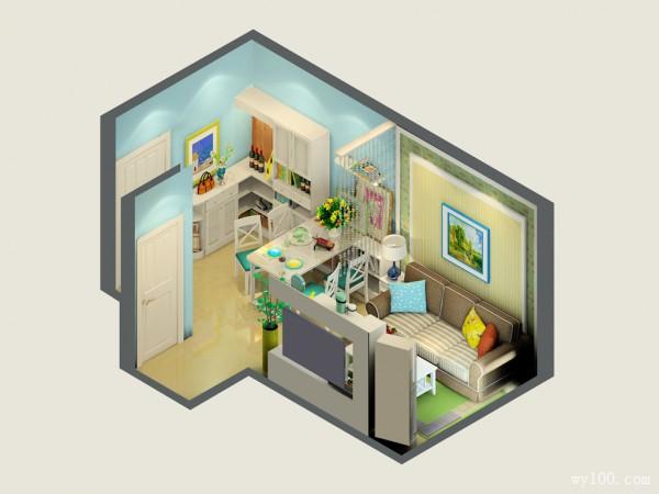 精致客餐厅效果图 14�O小空间依然分区明确_维意定制家具商城