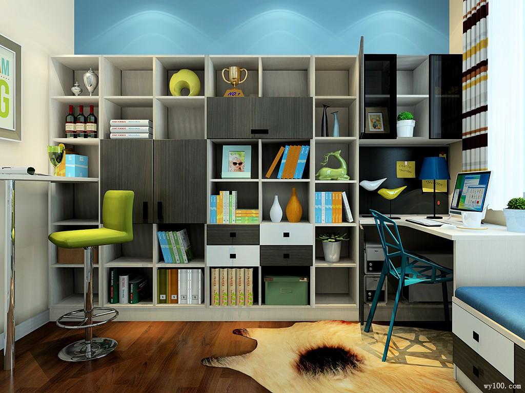 多功能书房 墙面书柜设计大饱眼福