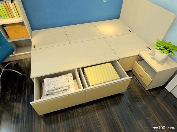 榻榻米儿童房效果图 8�O自带转角书桌书柜_赌盘网