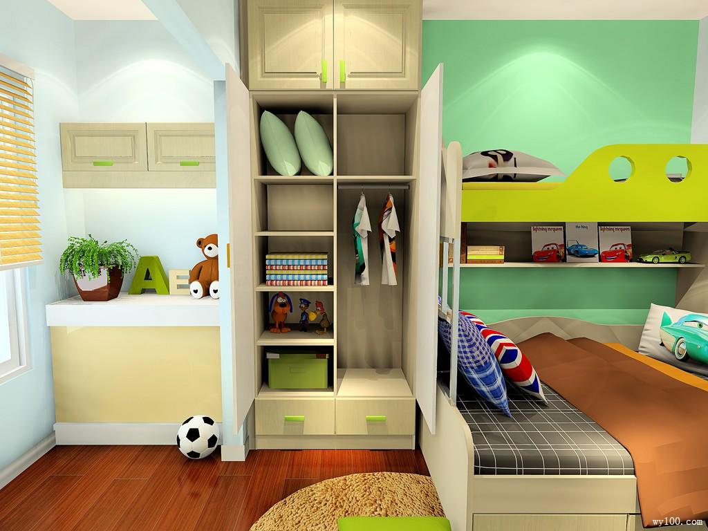 阳台儿童房装修效果图 10㎡色彩清爽中带着温馨