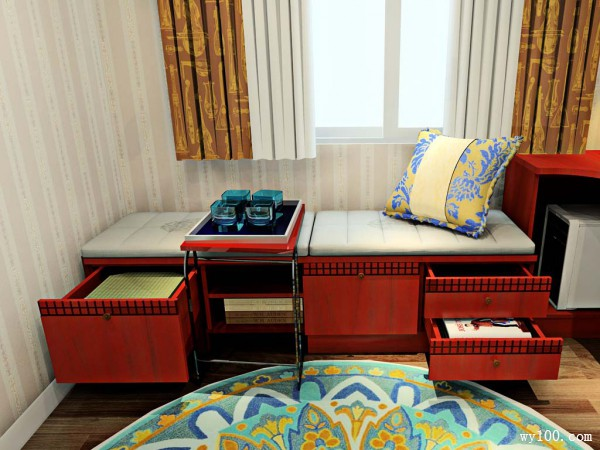 L型书房装修效果图 7�O平窗位置拼搭矮柜_赌盘网