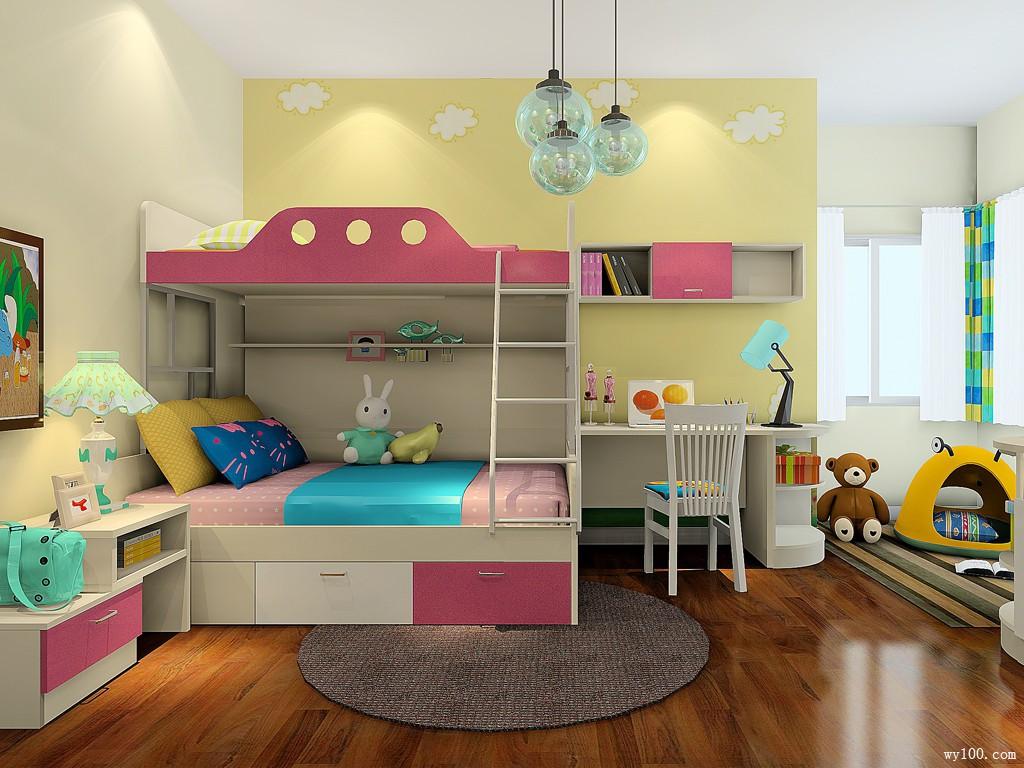 女孩上下床儿童房设计效果图