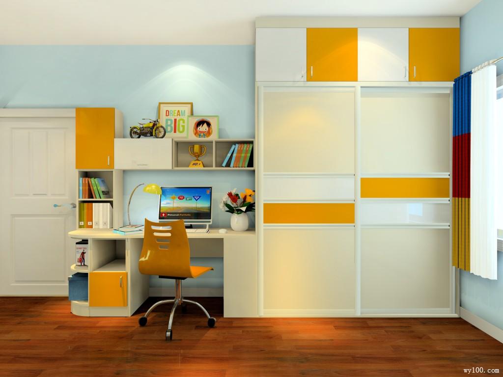书桌书柜组合儿童房效果图
