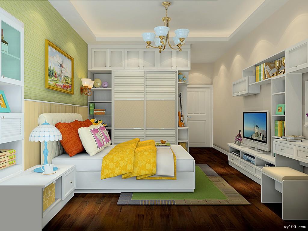 田园欧式卧室效果图 20㎡圆弧衣柜打造温馨空间_维意定制家具商城
