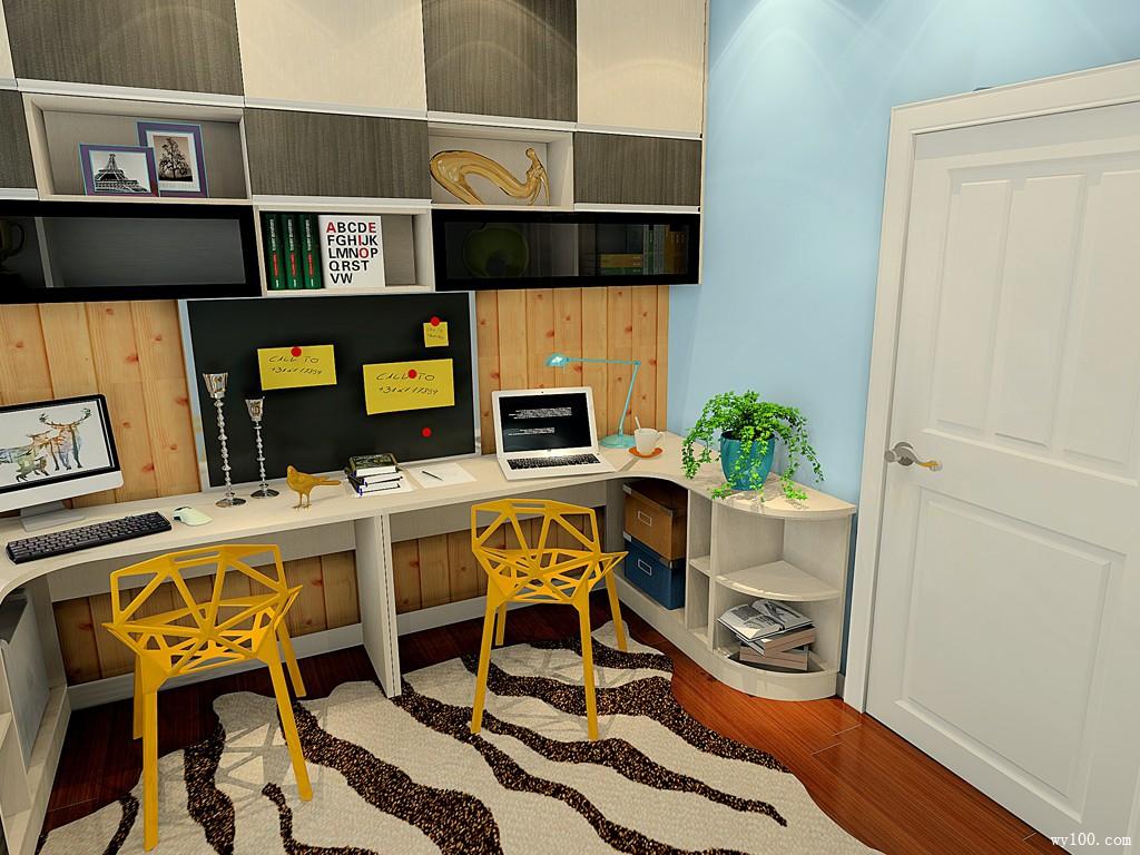 黑白色调书房效果图 7㎡书柜和书桌结合设计
