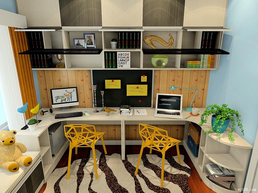 黑白色调书房效果图 7㎡书柜和书桌结合设计图片