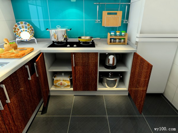 L型的橱柜厨房 蓝色调设计让更清爽亮丽_赌盘网