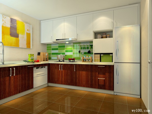 L型橱柜厨房效果图 7平新颖吊柜设计_赌盘网