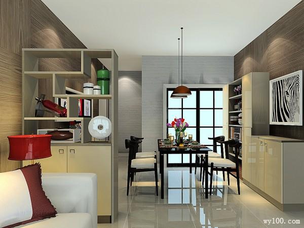 隔断柜客餐厅效果图 29�O门厅与客厅做小的分隔_赌盘网