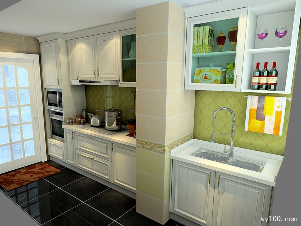 一字型橱柜厨房效果图 6平窗户旁边星盆收纳更强_赌盘网