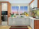 小户型L型厨房效果图 5㎡储物柜、炉灶柜齐全_维意亚博娱乐手机登录手机专用家具商城
