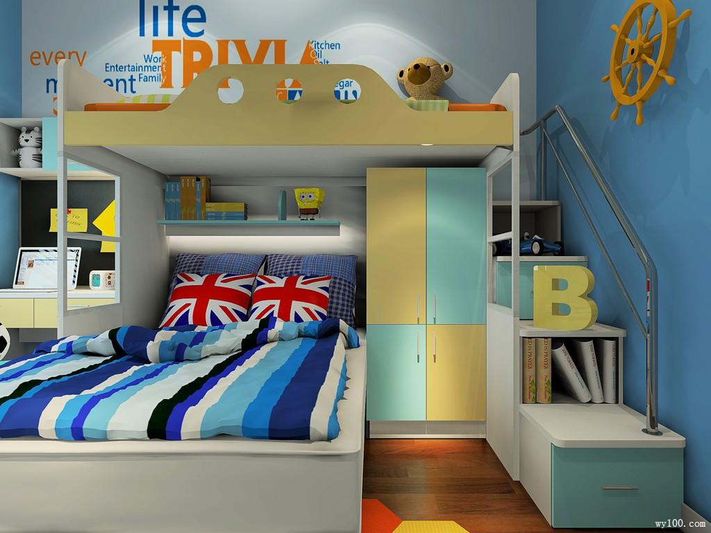 上下床儿童房设计 蓝调展现海洋气息