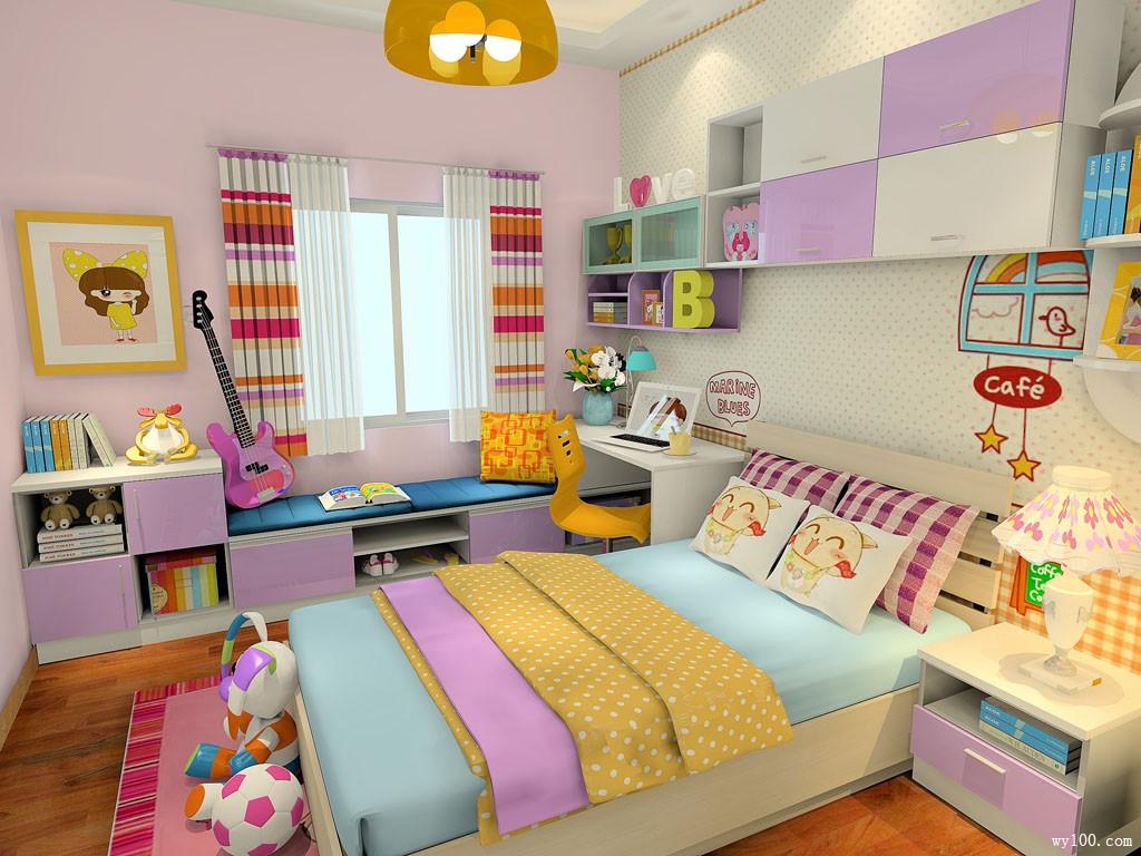 粉色系儿童房效果图 11㎡增加女孩子的梦幻感觉