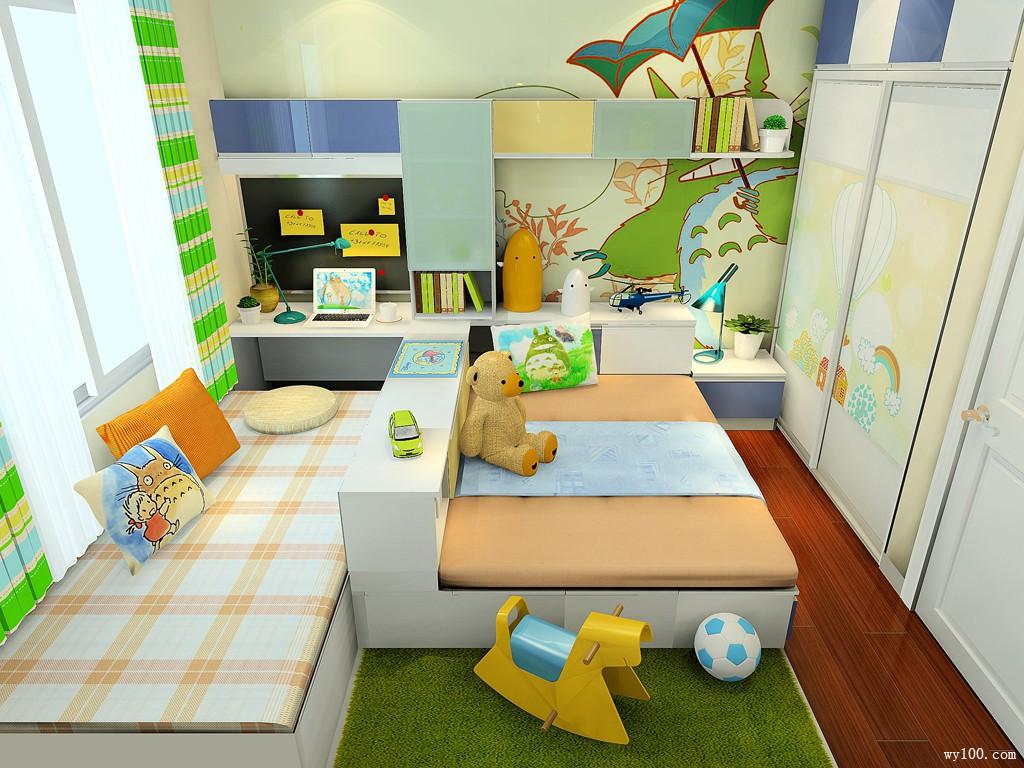 可爱儿童房间效果图 10㎡榻榻米的组合形式_维意定制家具商城