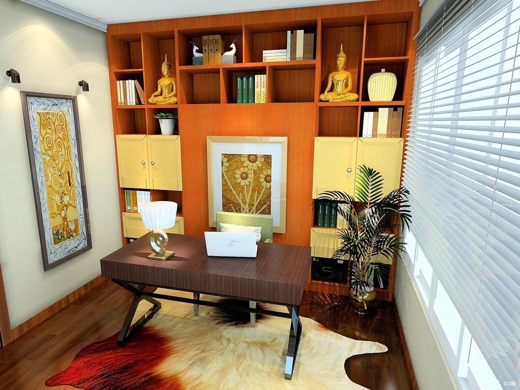 书房木隔断效果图 10㎡中间区域设计成隐形床