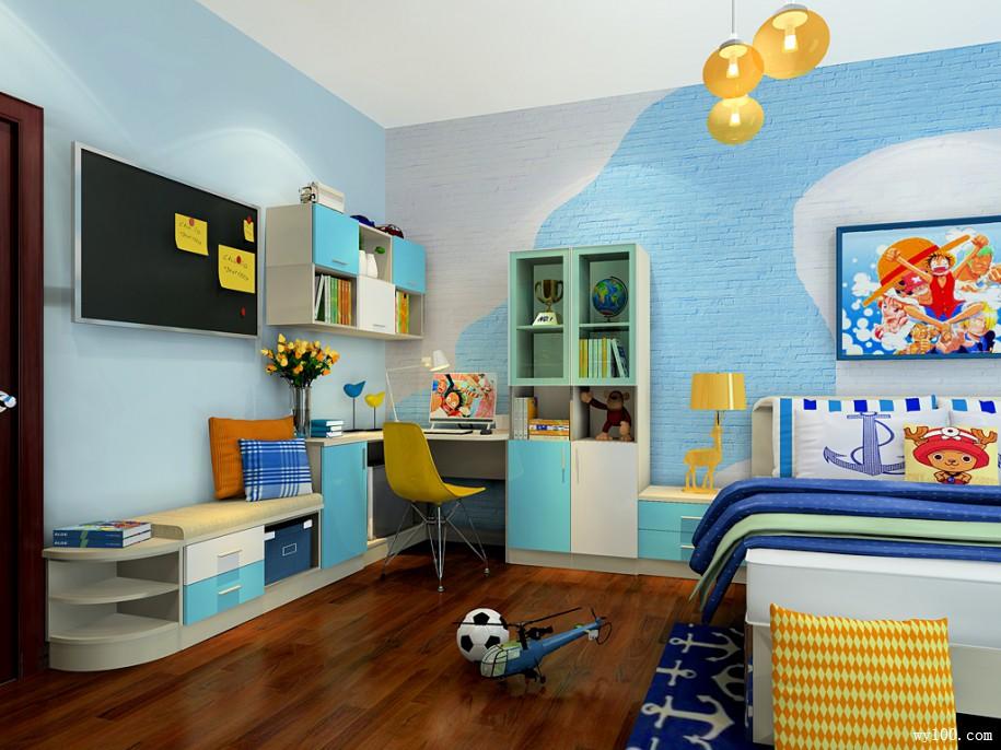 圆弧衣柜儿童房效果图 28㎡加强小孩的动手能力