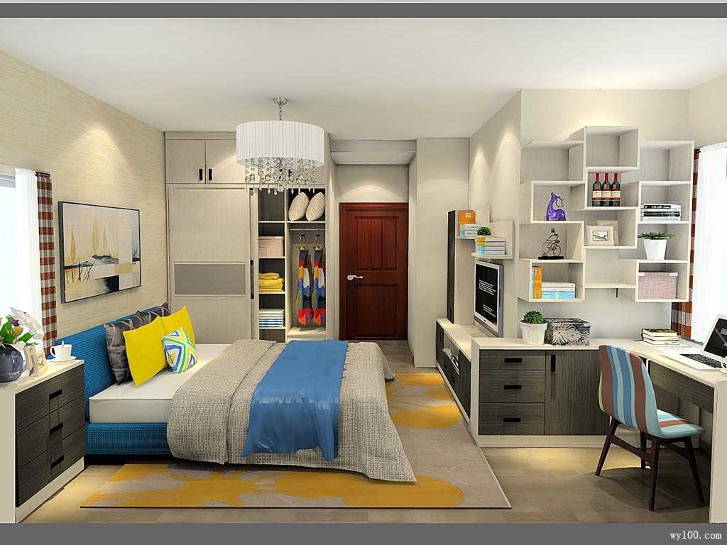 电视背景墙卧室效果图 18㎡转角位置加入书桌