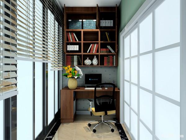 阳台装修效果图 6�O个性化书桌与吊柜组合_赌盘网