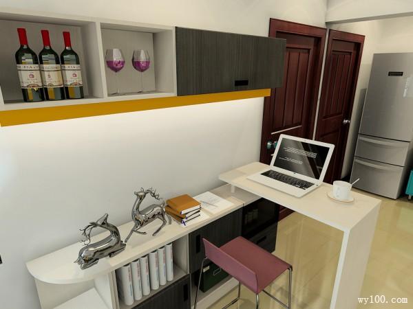 现代简约客餐厅 储物柜加吊柜再拼搭书桌连贯实用_赌盘网
