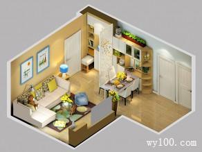 简约现代客餐厅效果图 30�O空间利用率最大化_维意定制家具商城